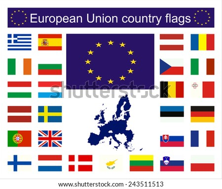 Flags of EU countries and European Union Map. - stock vector