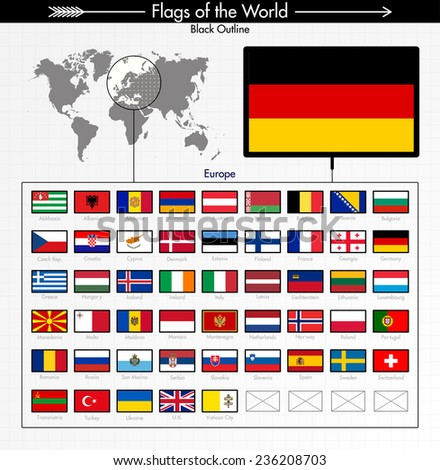 Flags of Europe Collection, BLACK OUTLINE 3/6  - stock vector