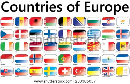 Flags of Europe; Countries of Europe; National flags - stock vector
