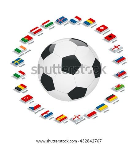 Flags of European countries participating to the final tournament of Euro 2016 football championship - stock vector