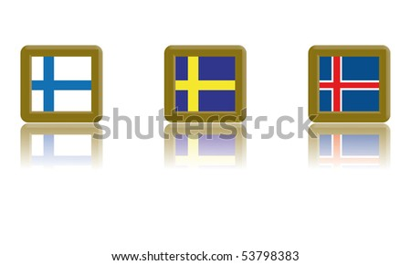 Flags of Finland, Sweden and Iceland  with golf frame and reflection - stock vector