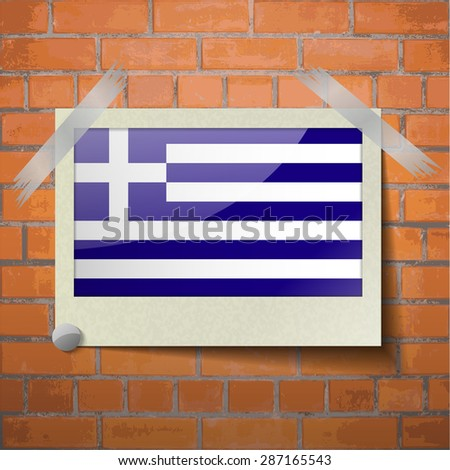 Flags of Greece scotch taped to a red brick wall. Vector - stock vector