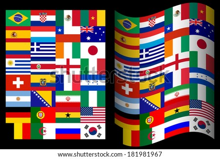 Flags of participating countries in Brazil on a black background - stock vector