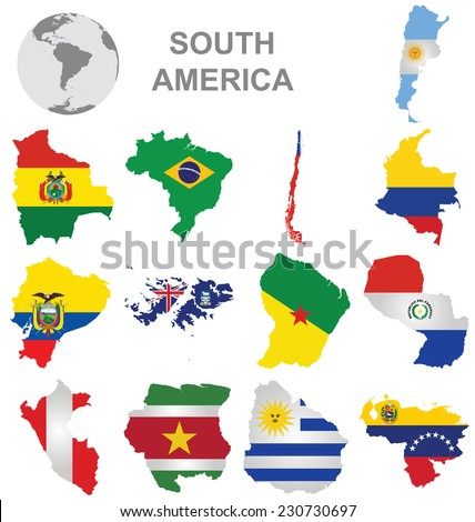 Flags of South America collection overlaid on outline map isolated on white background  - stock vector