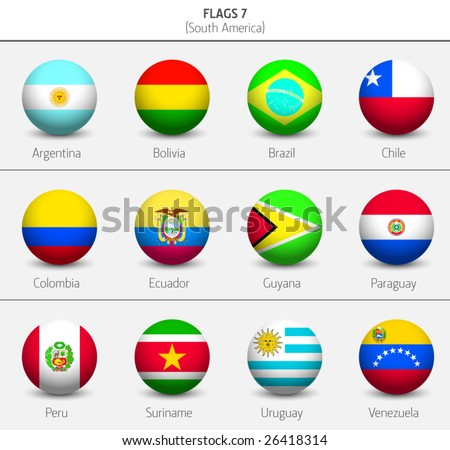 Flags of South America Countries 6 - stock vector
