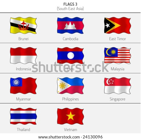 Flags of Southeastern Asia 3 - stock vector