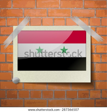Flags of Syria scotch taped to a red brick wall. Vector - stock vector
