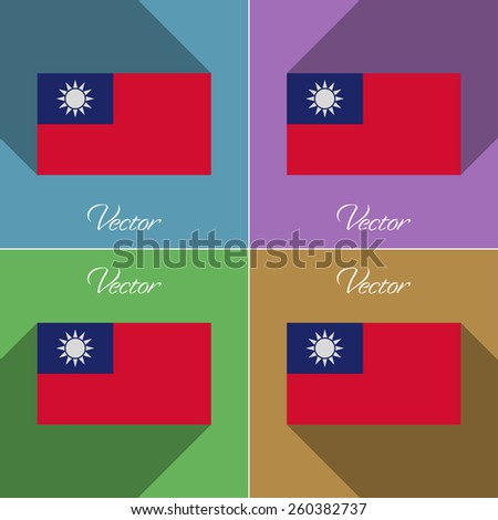 Flags of Taiwan. Set of colors flat design and long shadows. Vector illustration - stock vector