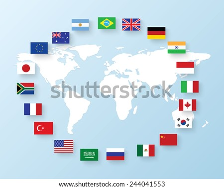 flags of the G20. The Group of Twenty flags - stock vector