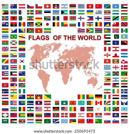Flags of the world and  map on white background. Vector illustration. - stock vector