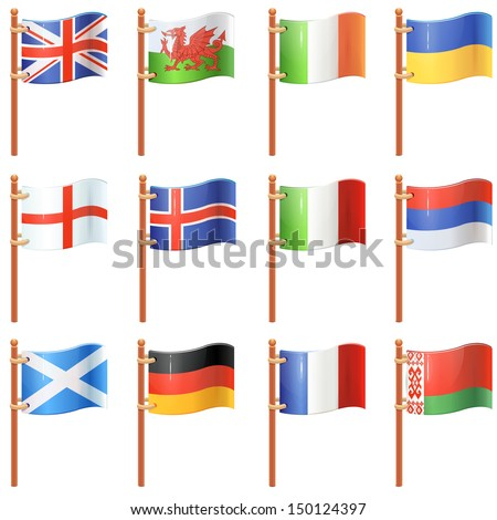 Flags of the world. Europe. Set 1/4 - stock vector