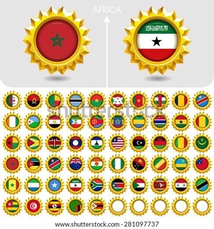 Flags of the world Jewellery collection, golden badges  edgy star shape, Africa. Part 6/6 - stock vector