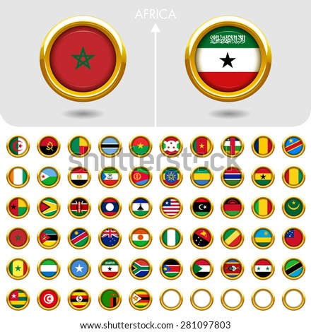 Flags of the world Jewellery collection, golden badges ring shape, Africa. Part 6/6 - stock vector