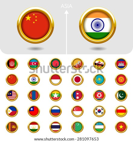 Flags of the world Jewellery collection, golden badges ring shape, Asia. Part 3/6 - stock vector