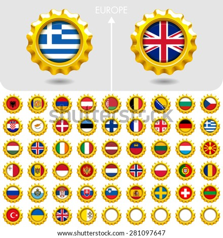 Flags of the world Jewellery collection, golden badges smooth corner shape, Europe. Part 2/6 - stock vector