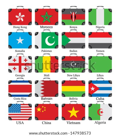 Flags of the world on bags - stock vector
