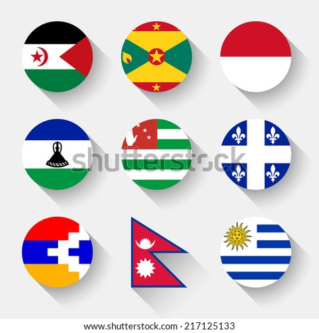 Flags of the world, set 23 with shadow - stock vector