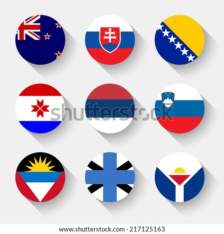 Flags of the world, set 19 with shadow - stock vector