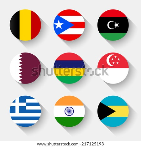 Flags of the world, set 02 with shadow - stock vector