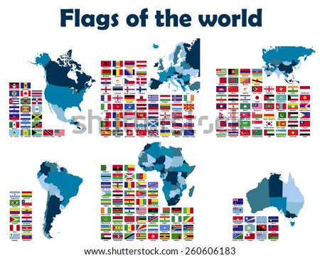 Flags of the World sorted by continents, alphabetically. - stock vector