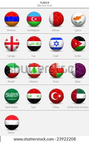 Flags of Western Asia Countries 8 - stock vector