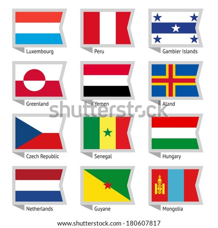 Flags of world, flat vector illustration. Set number 04 - stock vector