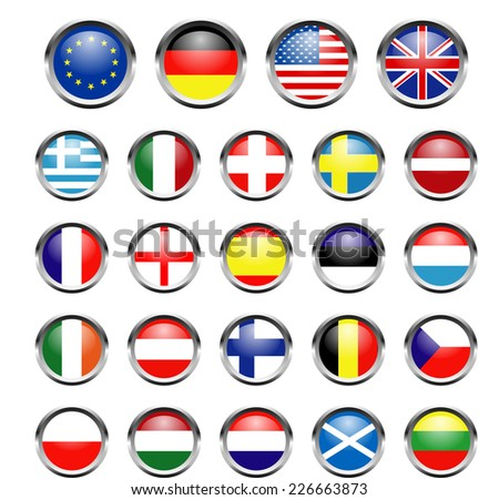 flags set isolated - stock vector