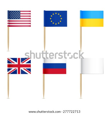 Flags toothpick. American, Europen union, United Kingdom, Ukraine,  Russian, White flags - stock vector
