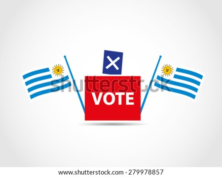 Flags Uruguay Campaign Ballot Box Legislative - stock vector