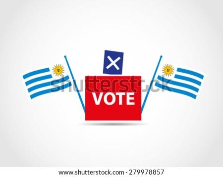 Flags Uruguay Campaign Ballot Box Legislative - stock vector