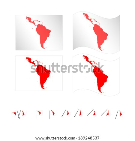 Flags with Latin American Map EPS 10 - stock vector