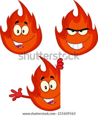 Flame Cartoon Mascot Character 7. Vector Collection Set - stock vector