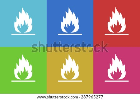 flame flat design modern vector icons set for web and mobile app - stock vector