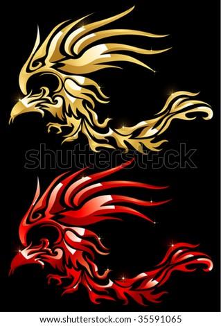 flame phoenix - stock vector
