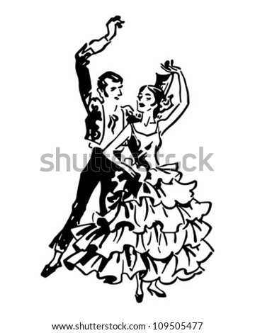 Flamenco Dancers 2 - Retro Clipart Illustration - stock vector