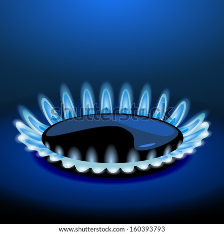Flames of gas stove in the dark. Vector - stock vector