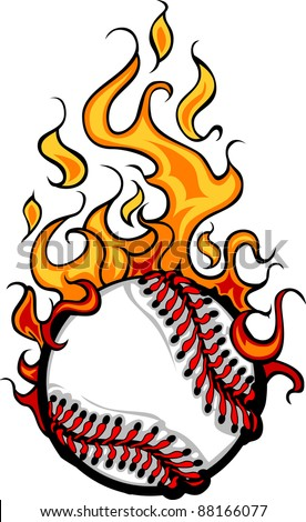 Flaming Baseball Softball Ball Vector Cartoon burning with Fire Flames - stock vector