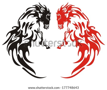 Flaming horses. Black and red on the white  - stock vector