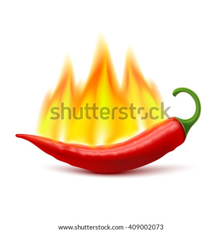 Flaming red chili pepper pod image as symbol of spicy world hottest food ingredient realistic vector illustration  - stock vector