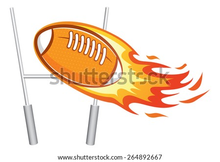 flaming rugby ball with goal post - stock vector