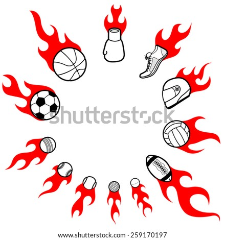 Flaming sport pictogram icons on fire arranged in a circle, Vector - stock vector