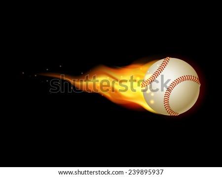 Flaming Tennis Ball. Illustration on black background for design - stock vector