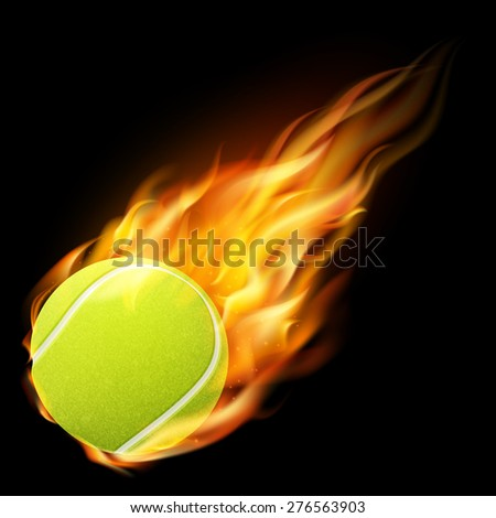 Flaming tennis ball on a dark background. Vector EPS10 illustration.  - stock vector