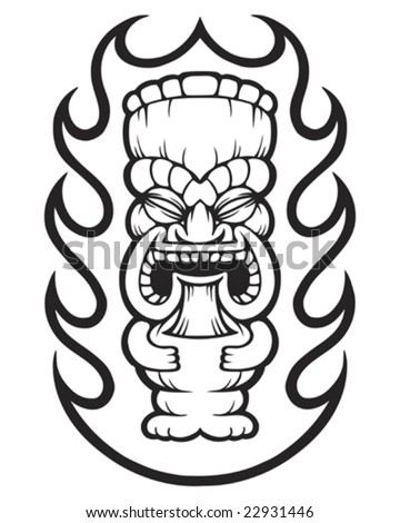 flaming tiki - stock vector