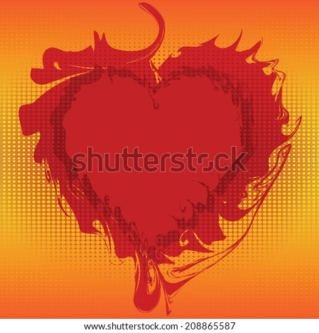 Flaming Valentines heart on halftone pattern,vector design - stock vector