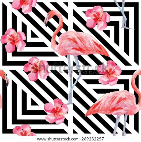 flamingo and hibiscus watercolor pattern, geometric background - stock vector