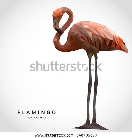 Flamingo low poly style. Polygonal mosaic vector illustration - stock vector