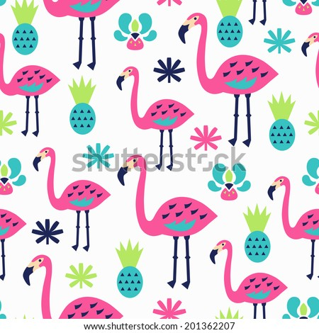 Flamingo seamless pattern. Vector illustration.  - stock vector