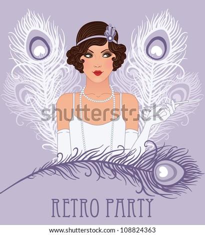 Flapper girl series: Retro party invitation design - stock vector