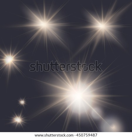 flares, beams, sun burst, light effects, editable elements under clipping mask, vector illustration - stock vector